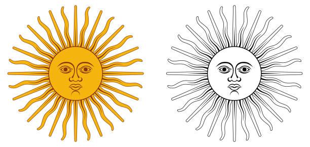 illustrations, cliparts, dessins animés et icônes de soleil de mai - l'emblème national de l'argentine et l'uruguay. cercle jaune avec un visage humain, avec 32 rayons, 16 droites / ondulées, représentant dieu inti. couleur / noir et blanc. - argentine