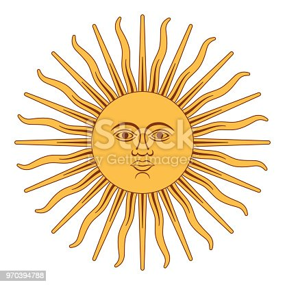 Sun of May, Spanish Sol de Mayo, a national emblem of Argentina on the country flag. Radiant golden yellow sun with a face and sixteen straight and sixteen wavy rays. Illustration over white. Vector.
