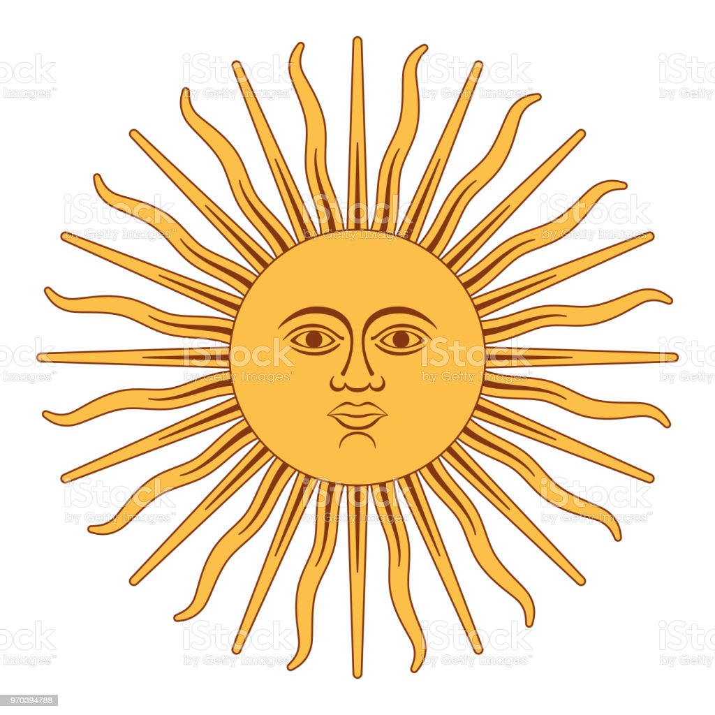 Sun of May, Sol de Mayo, Argentina vector art illustration