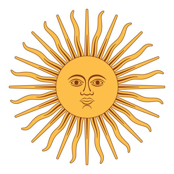 Sun of May, Sol de Mayo, Argentina vector art illustration