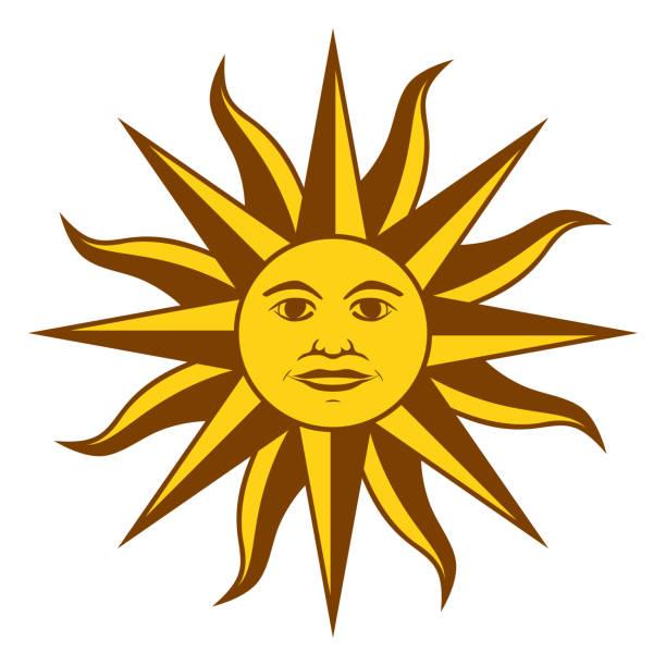 Sun of May, Sol de Mayo, Uruguay vector art illustration