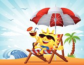 Sun relaxing on a beach chair.  High Resolution JPG,CS5 AI and Illustrator 0.8 EPS included.