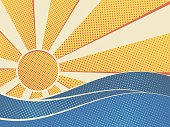 Sun over the sea pop art style. Summer retro poster. Vector illustration.
