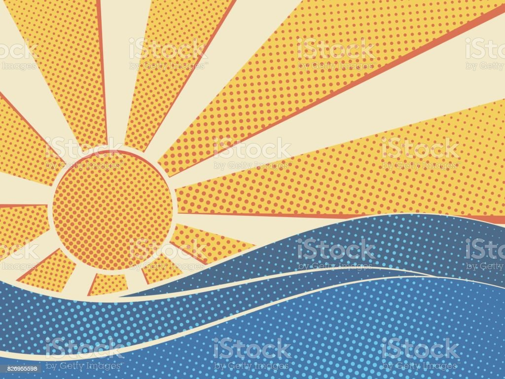 Sun over the sea vector art illustration