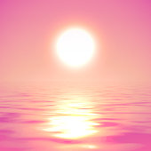 Vector illustration of the sun over the water in pink colors. Water Surface.
