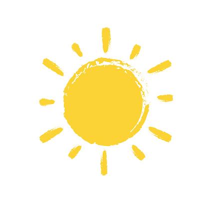 Sun Paint Brush Strokes on white background. Vector illustration.