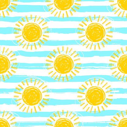 Sun pattern seamless, striped background. Hand drawn yellow sunshine icons