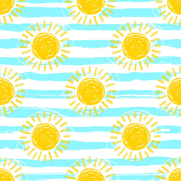 Sun pattern seamless, striped background. Hand drawn yellow sunshine icons Sun pattern seamless, striped background. Hand drawn yellow sunshine icons. Cute hand-drawn summer symbols, Vector sketch summer sun stock illustrations