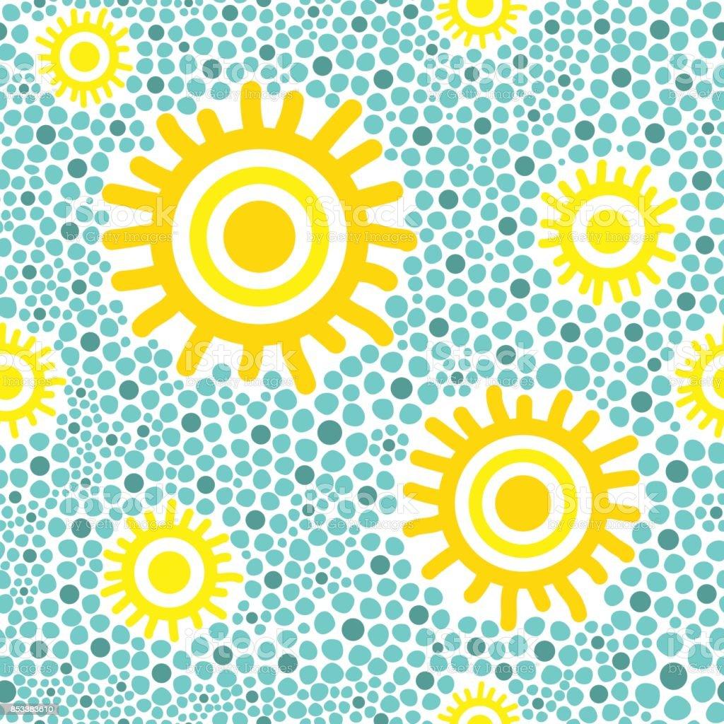 Sun pattern vector seamless vector art illustration