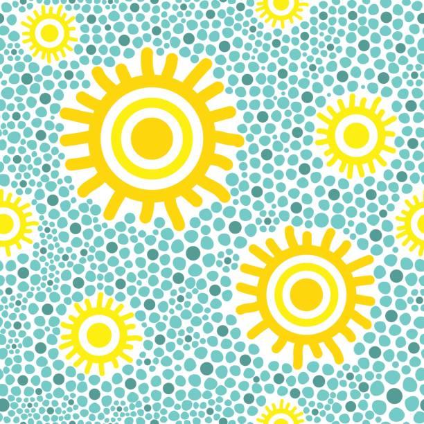 stockillustraties, clipart, cartoons en iconen met zon patroon vector naadloze - tribale kunst
