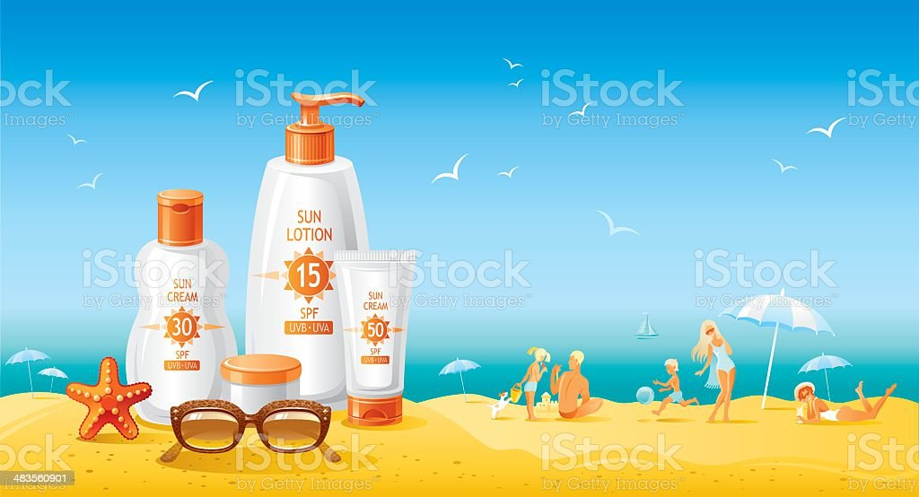 Sun protection cosmetics for family on the beach vector art illustration
