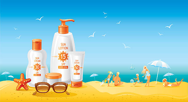 sun protection cosmetics for family on the beach - sun cream stock illustrations