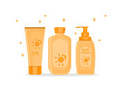 Sun protection cream tubes and Cosmetic Jars or Bottles. Sunscreen icon. Vector Flat Illustration