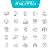 Sunscreen, Skin care, Sunlight, Icon, Suntan Lotion, Editable Stroke Icon Set