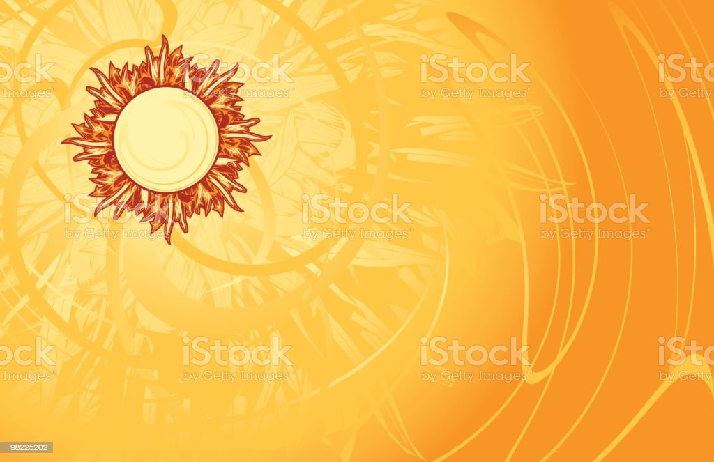 Sun radiating heat on a yellow background royalty-free sun radiating heat on a yellow background stock vector art & more images of backgrounds