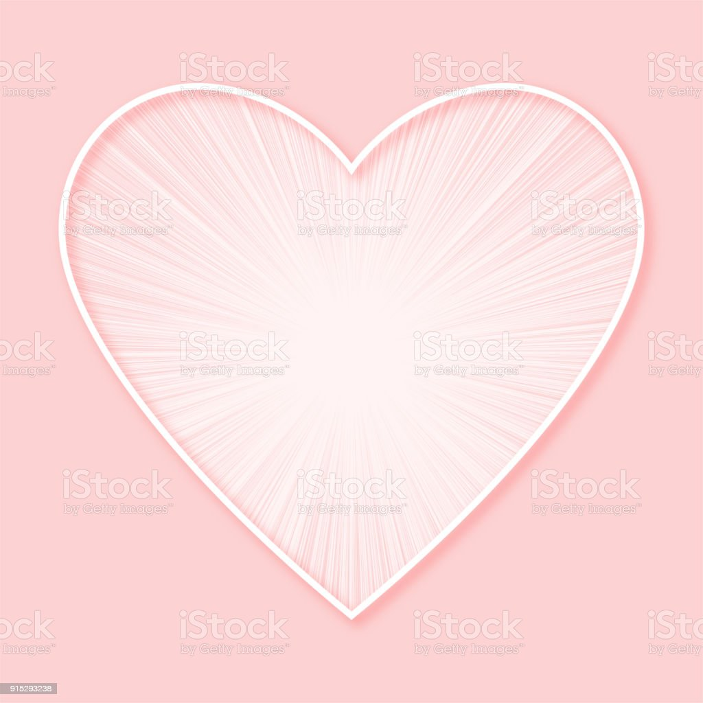 Sun Ray Heart Valentines Day Background Design Sweet Pink Two Tone