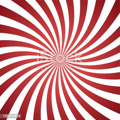 istock Sun ray retro vector illustration, red background. Abstract radiate texture. 1203204674