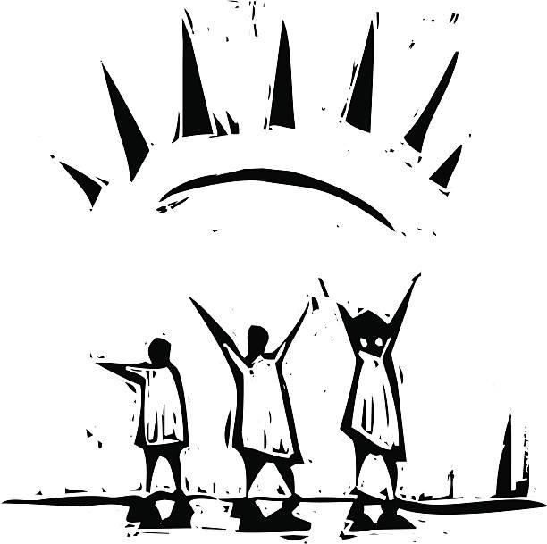 stockillustraties, clipart, cartoons en iconen met sun ray - houtgravure