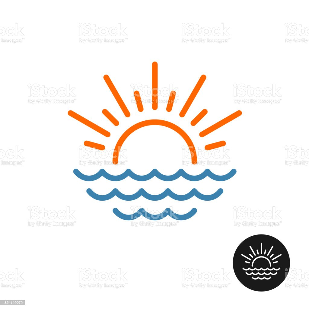 Sun rays and sea waves symbol. royalty-free sun rays and sea waves symbol stock vector art & more images of abstract