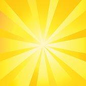 Sun rays wallpaper. Sun Exploding poster, Sunlight Fire - Natural Phenomenon background, Sunrise banner, Sunburst template, Sunbeam shapes pattern, Yellow Lens Flare, Vector illustration