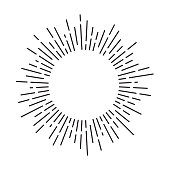 istock Sun rays circle frame with lines. Vintage sunburst. Vector illustration. 1200683665