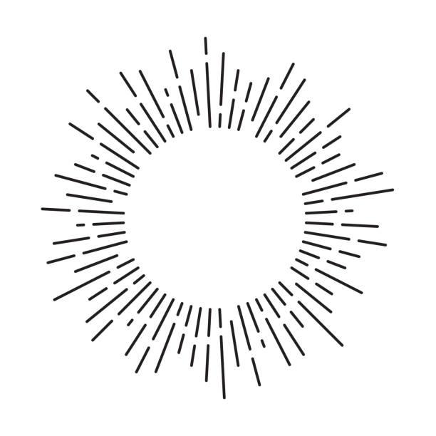ilustrações, clipart, desenhos animados e ícones de os raios de sol circundam o frame com linhas. explosão solar vintage. ilustração do vetor. - fireworks sky