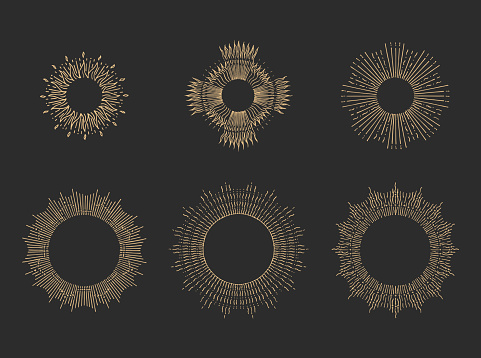 Sun rays linear drawings on black backgound. Hand drawn halos illustration set in vector.