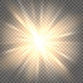 Sunburst icon. Sun rays on transparent background vector illustration