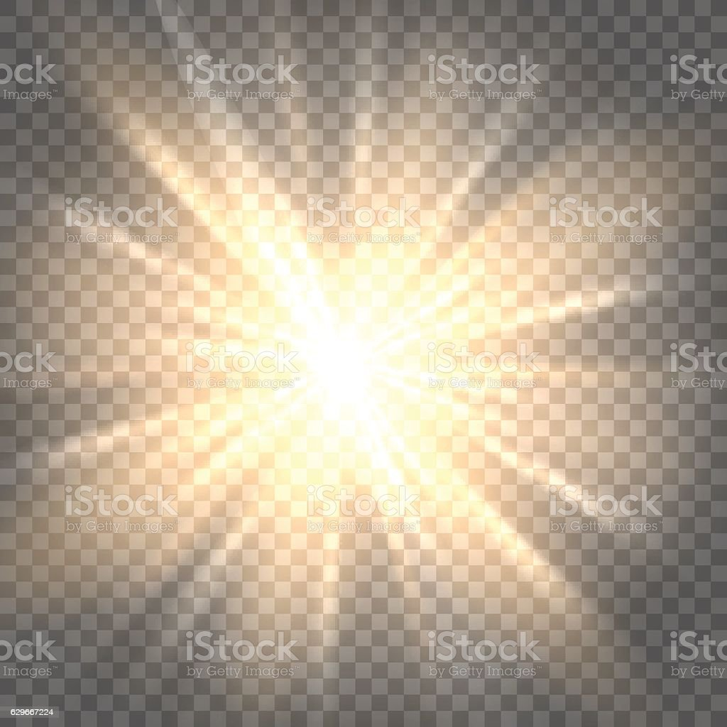 Sun rays on transparent background vector art illustration