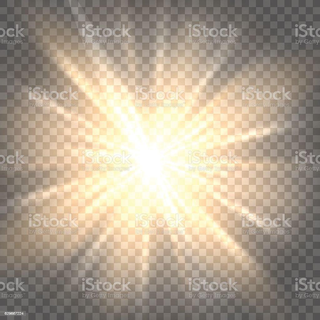 Sun rays on transparent background vector art illustration