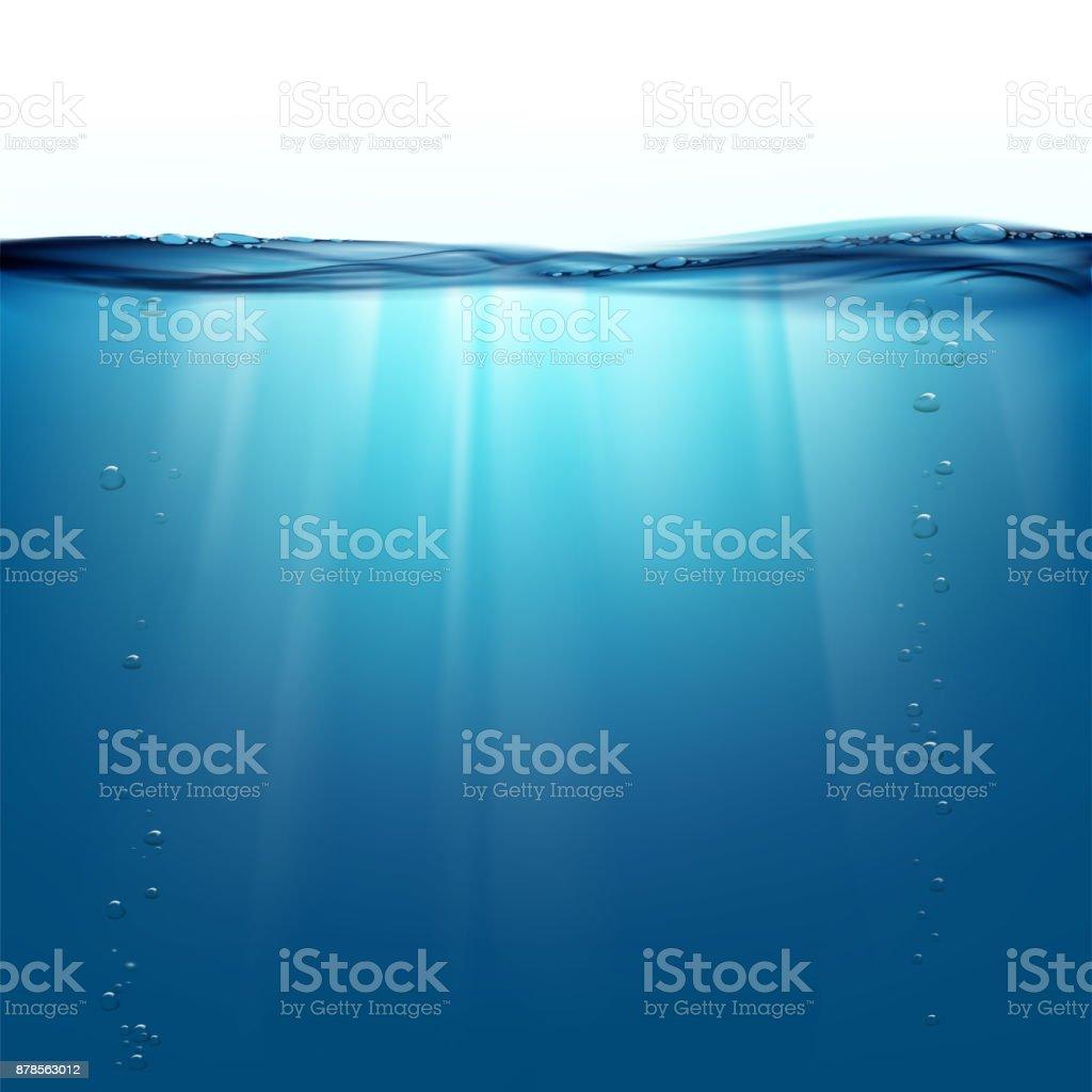 Raios de sol debaixo d'água - ilustração de arte em vetor