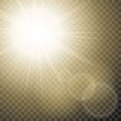 Sun Rays With Hotspots And Flares On Transparent Background Vector