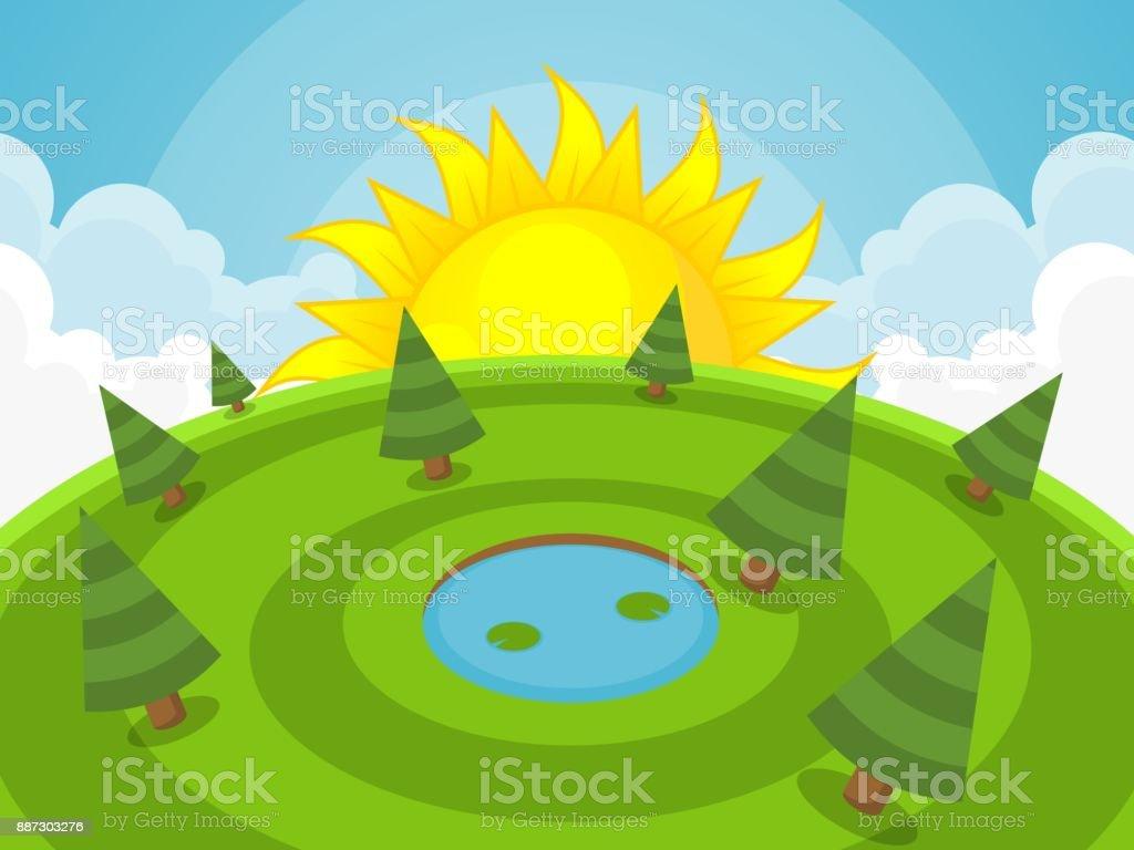 Sun Rise Game Background vector art illustration