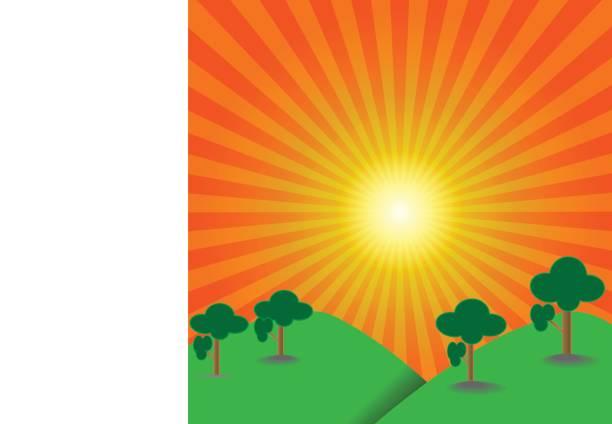 Hintergrund Landschaft Hill und Baum aufgehende Sonne – Vektorgrafik