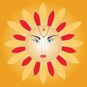 Sun with face - russian symbol holiday spring Shrovetide