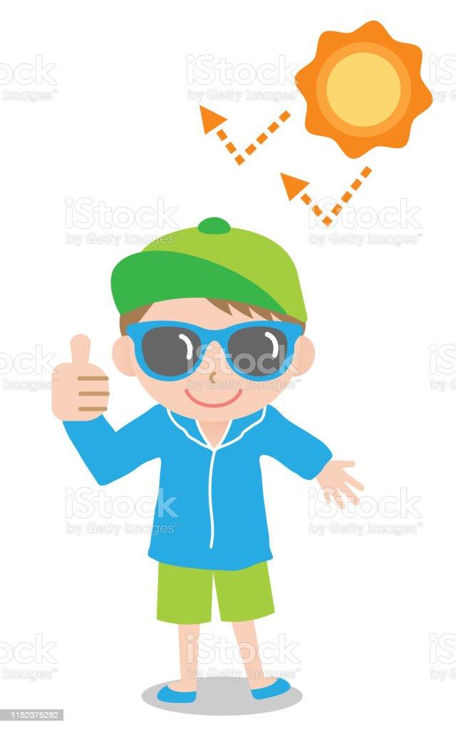 168b60ecd2b sun safety tips boy kid illustration. UV protection products,hat ,sunglasses,shade