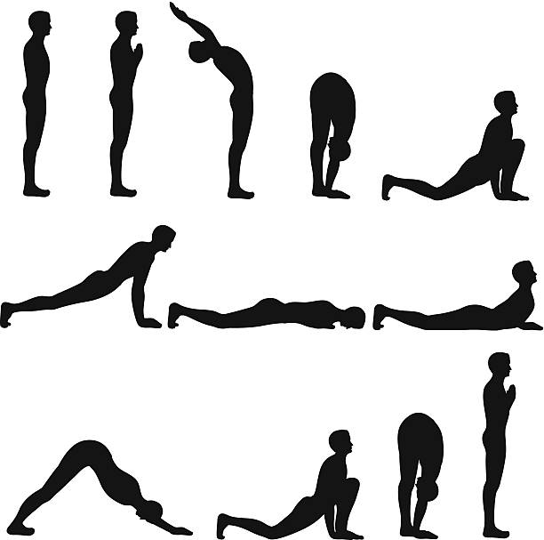 Sun salutation Exercise 12 Silhouette Yoga Steps of  sun salutation ,all separate layer,very useful to print and web banner. sun salutation stock illustrations