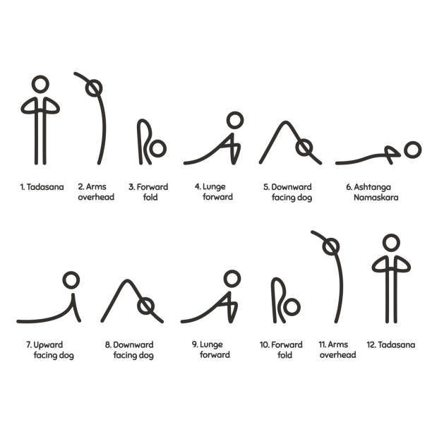 Sun Salutation infographic Sun Salutation yoga exercise, Surya Namaskara sequence infographic chart. Simple, minimal style asana symbols with text captions. sun salutation stock illustrations