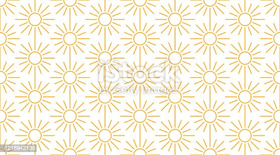 Sun seamless pattern with line icons. Sunny summer background for baby fabric, skin care cream with spf brochure abstract backdrop.
