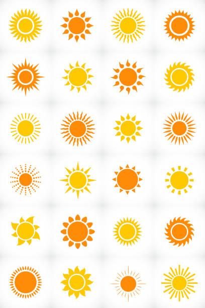ilustraciones, imágenes clip art, dibujos animados e iconos de stock de icono de conjunto de sol - tatuajes del sol