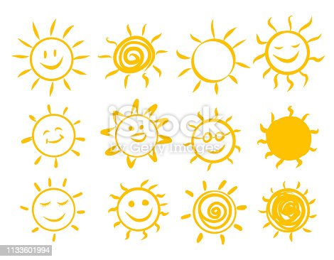 Sun set icons drawn by hand, vector illustration. Sun happy cartoon