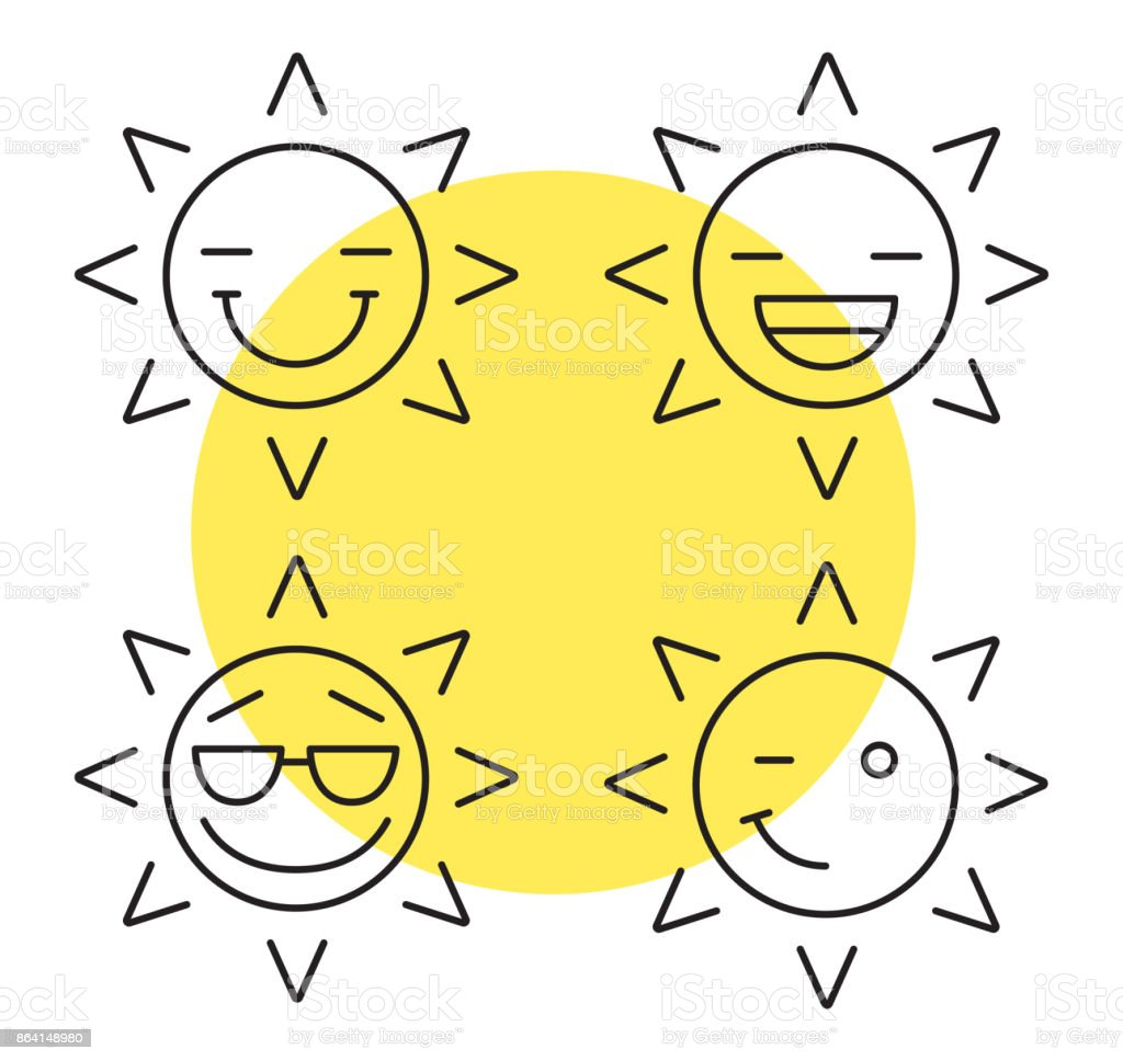 Sun smiles icons royalty-free sun smiles icons stock vector art & more images of cheerful