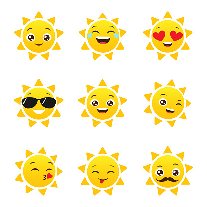 Sun, Smiley face icons or yellow emoticons with emotional funny faces in realistic . emojis .Vector illustration