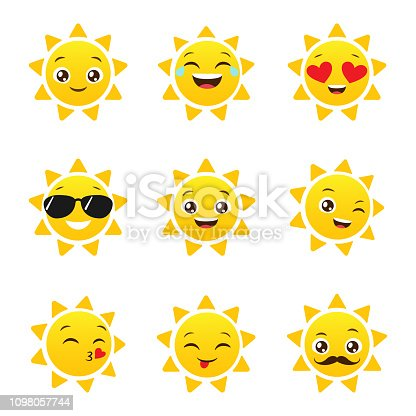 Set of funny sun emoticons for summer design. Happy sun vector emojis
