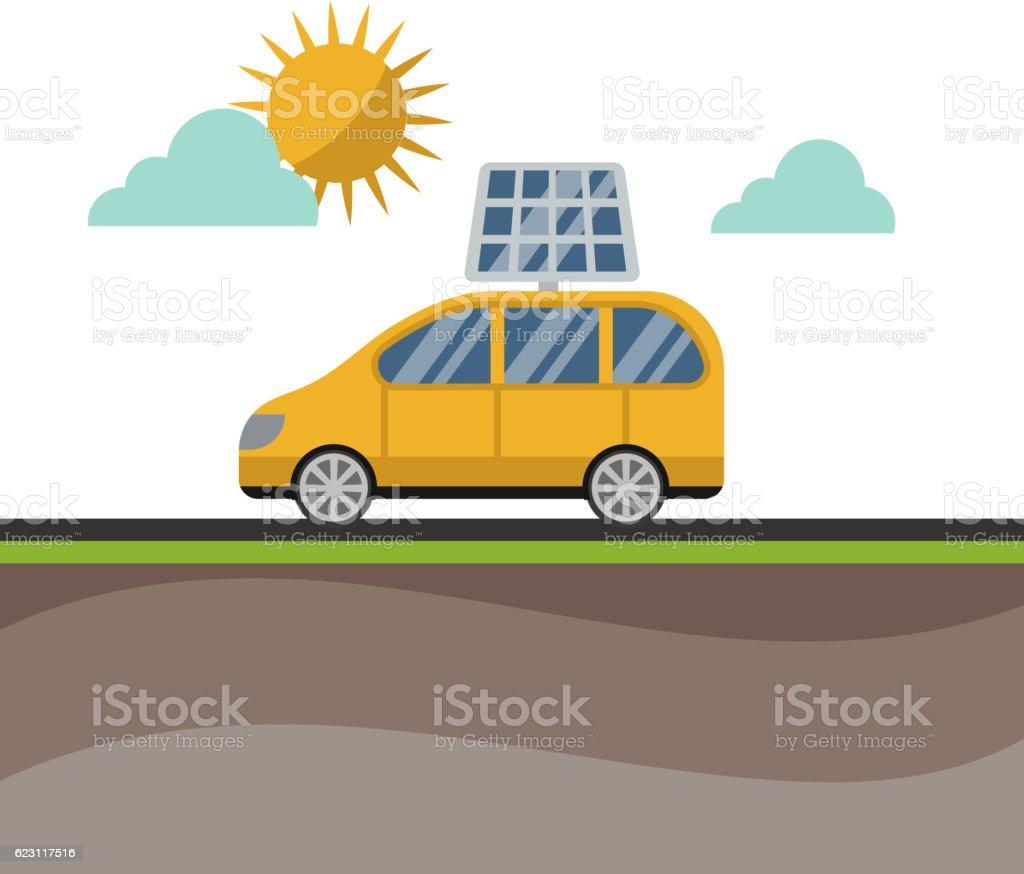 Sun Solar Energy Vector Electric Car Stock Illustration