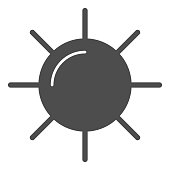 Sun solid icon, Summer concept, sunlight sign on white background, sun icon in glyph style for mobile concept and web design. Vector graphics