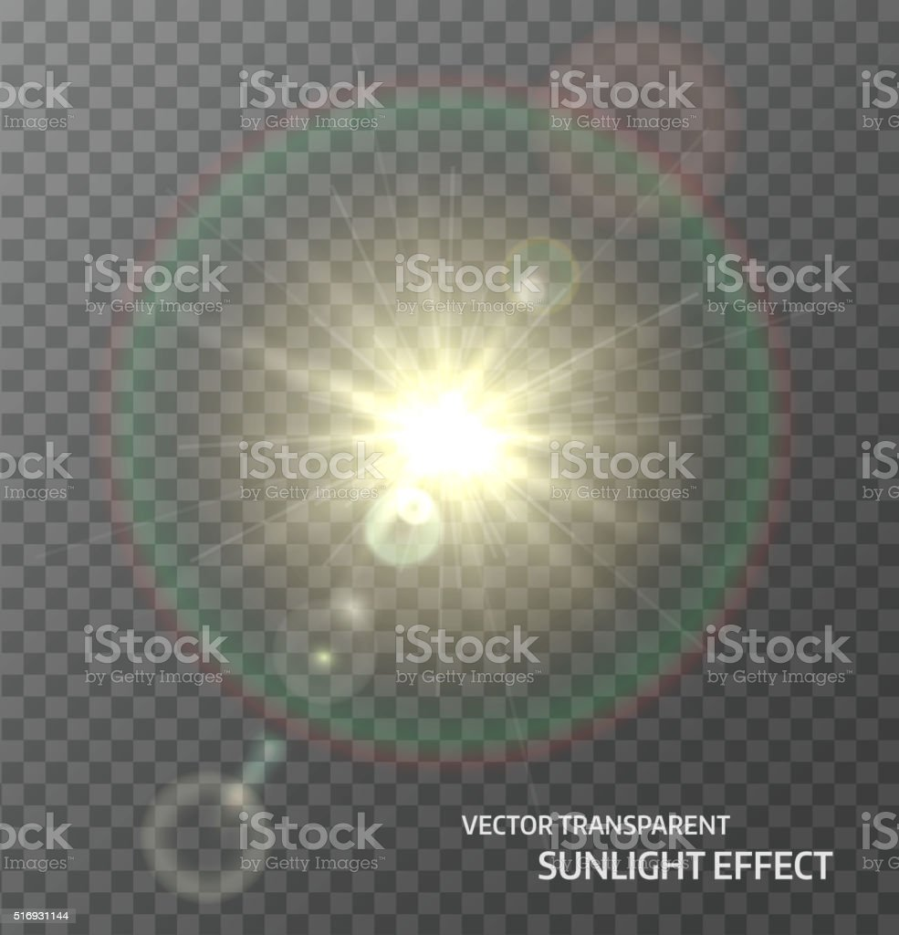 Sun, sunlight with rays and lens flare lights. Light effect vector art illustration