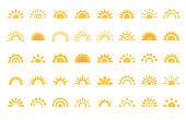 40 Sun, Sunrise, Sunset, Sunburst Design Elements.