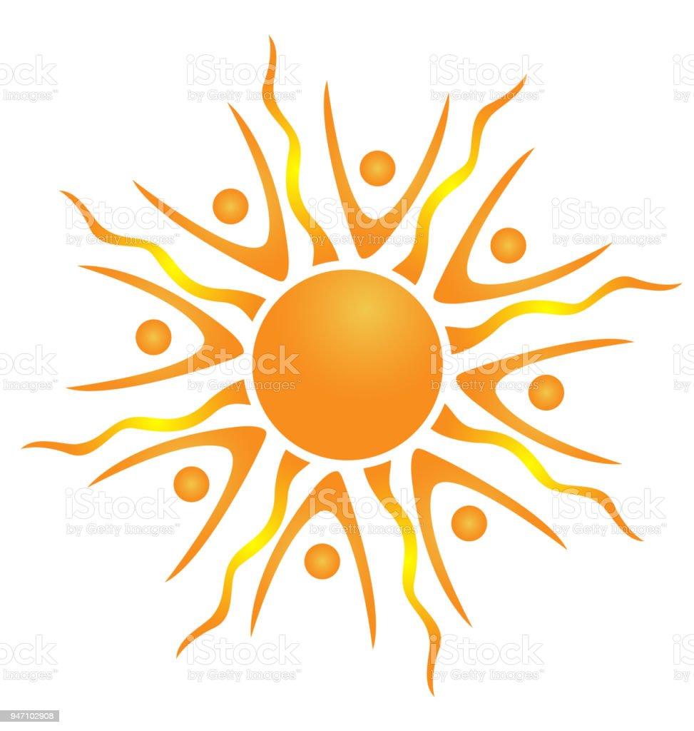 Sonne Teamarbeit Personalausweis Symbol Vorlage Stock Vektor Art und ...