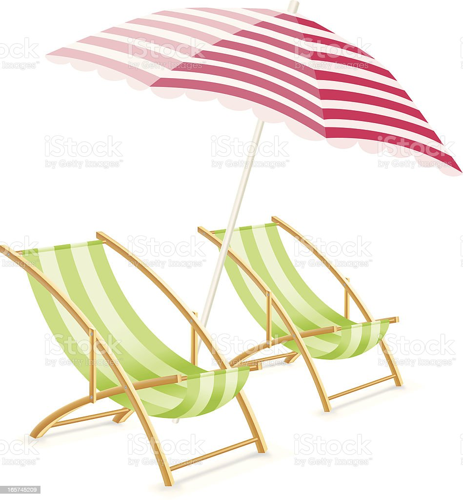 sun umbrella and beach chairs royalty-free stock vector art
